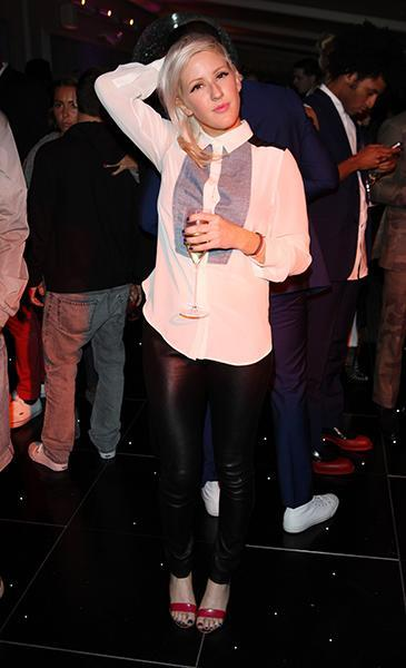 """<div class=""""caption-credit""""> Photo by: Getty Images</div><div class=""""caption-title"""">At the Selfridges & Disturbing London Present VIP party this June</div>Boyfriend Skrillex must be rubbing off on our girl Ellie--she's now rocking the half-shaved hairstyle he popularized--but with a pair of magenta strappies on her feet and electric blue pedicure she keeps her look on its toes."""