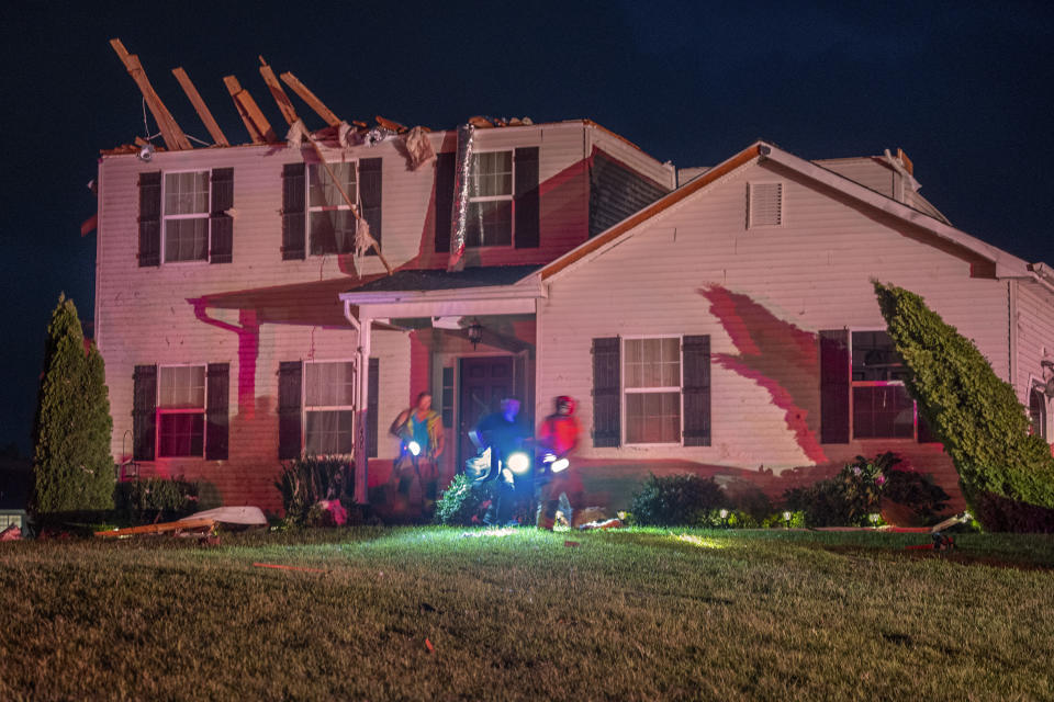 A home with broken rafters in Harrison Township, N.J., was damaged by a possible tornado on Wednesday.