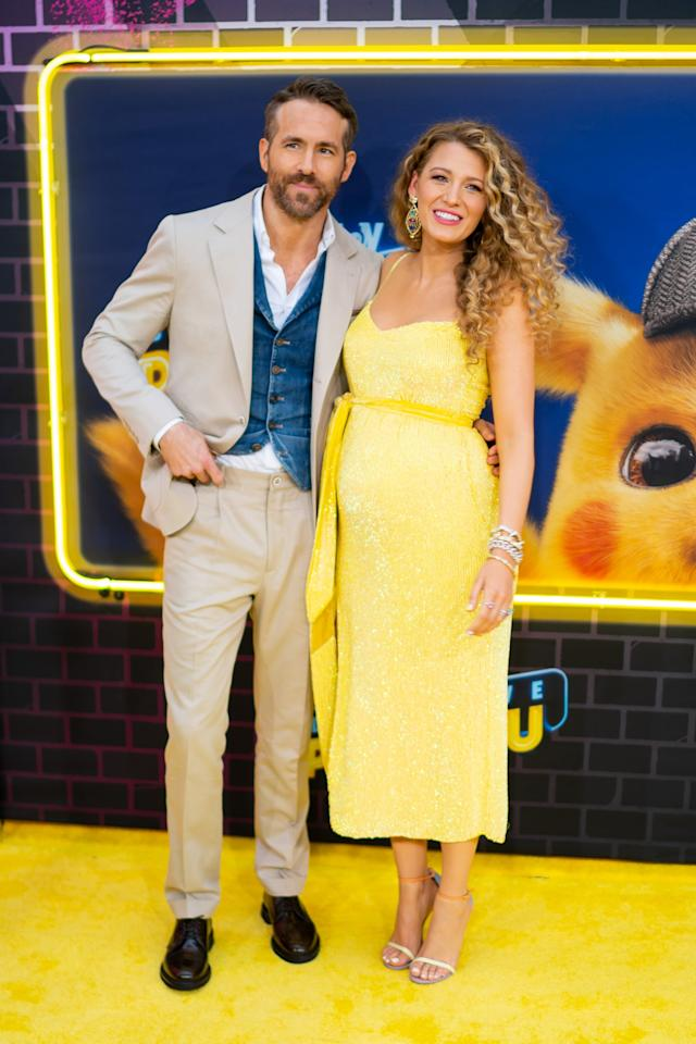 """<p>At the premiere of Ryan's movie <b>Pokémon Detective Pikachu</b>, Blake <a href=""""https://www.popsugar.com/celebrity/Blake-Lively-Pregnant-Third-Child-46105326"""" class=""""ga-track"""" data-ga-category=""""Related"""" data-ga-label=""""https://www.popsugar.com/celebrity/Blake-Lively-Pregnant-Third-Child-46105326"""" data-ga-action=""""In-Line Links"""">unveiled her baby belly</a>, confirming the couple is expecting their third child. The <a href=""""https://www.popsugar.com/celebrity/Blake-Lively-Ryan-Reynolds-Couple-Pictures-24846374"""" class=""""ga-track"""" data-ga-category=""""Related"""" data-ga-label=""""https://www.popsugar.com/celebrity/Blake-Lively-Ryan-Reynolds-Couple-Pictures-24846374"""" data-ga-action=""""In-Line Links"""">husband and wife of six years</a> are <a href=""""https://www.popsugar.com/family/How-Many-Kids-Do-Blake-Lively-Ryan-Reynolds-Have-46106971"""" class=""""ga-track"""" data-ga-category=""""Related"""" data-ga-label=""""https://www.popsugar.com/family/How-Many-Kids-Do-Blake-Lively-Ryan-Reynolds-Have-46106971"""" data-ga-action=""""In-Line Links"""">already parents</a> to daughters 4-year-old James and 2-year-old Inez.</p>"""