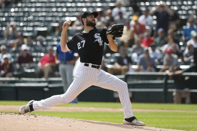 Chicago White Sox starting pitcher Lucas Giolito delivers during the first inning of a baseball game against the Kansas City Royals Thursday, Sept. 12, 2019, in Chicago. (AP Photo/Charles Rex Arbogast)