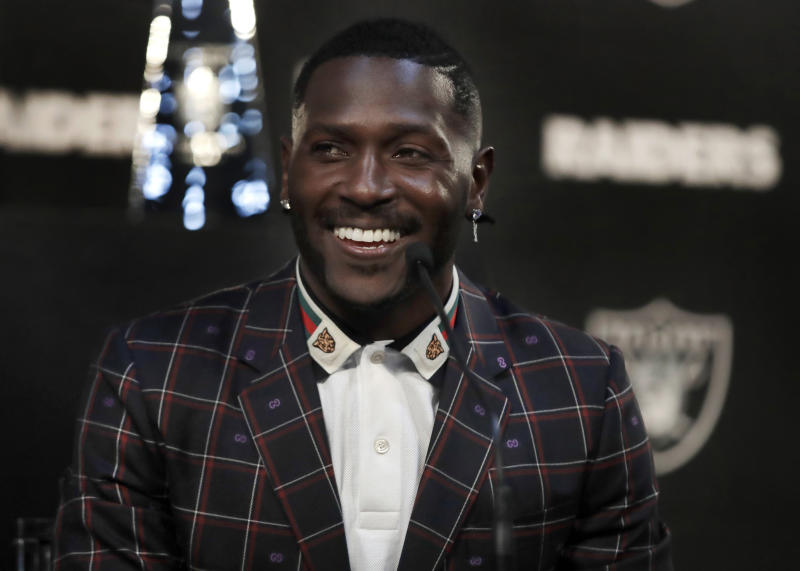 Oakland Raiders wide receiver Antonio Brown wants your help in finding a new helmet. (AP)