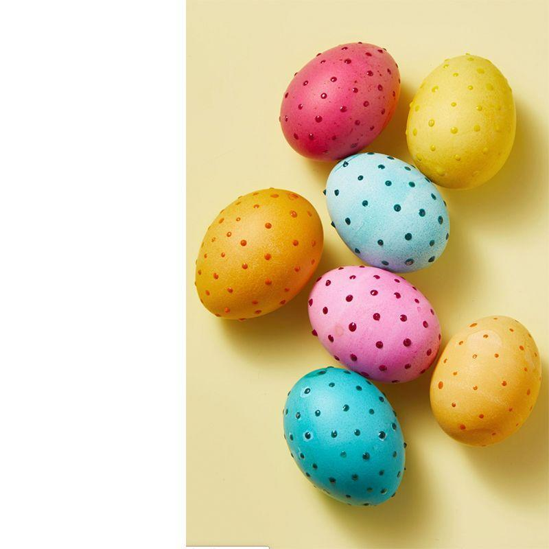 "<p>Go 3-D by simply adding texture with a hot glue gun, then dip into bright dyes for a fun finish!</p><p><em>Get the tutorial from <a href=""https://www.goodhousekeeping.com/holidays/easter-ideas/g419/easter-egg-decorating-ideas/?slide=6"" rel=""nofollow noopener"" target=""_blank"" data-ylk=""slk:Good Housekeeping"" class=""link rapid-noclick-resp"">Good Housekeeping</a>.</em></p>"
