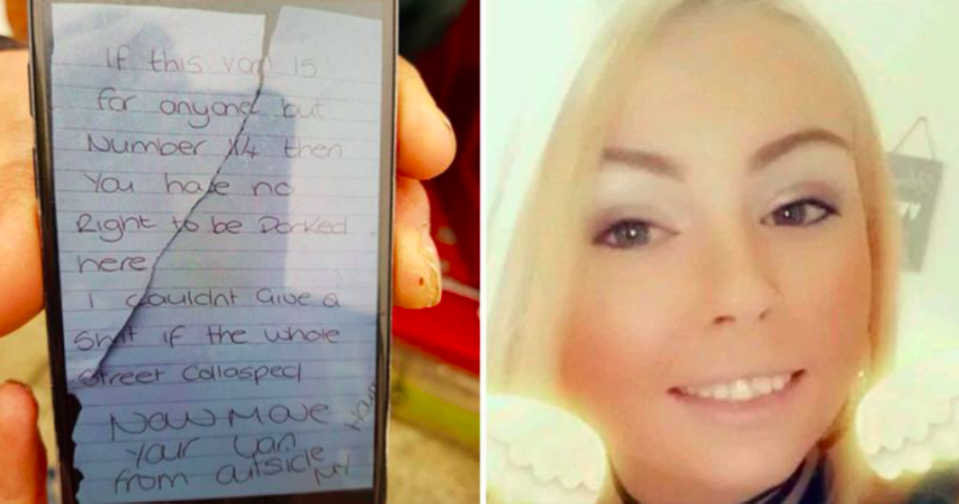 Kirsty Sharman was fined £120 for writing the abusive note and leaving it on the ambulance