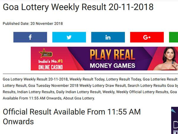 Goa lottery result: Check weekly result here LIVE