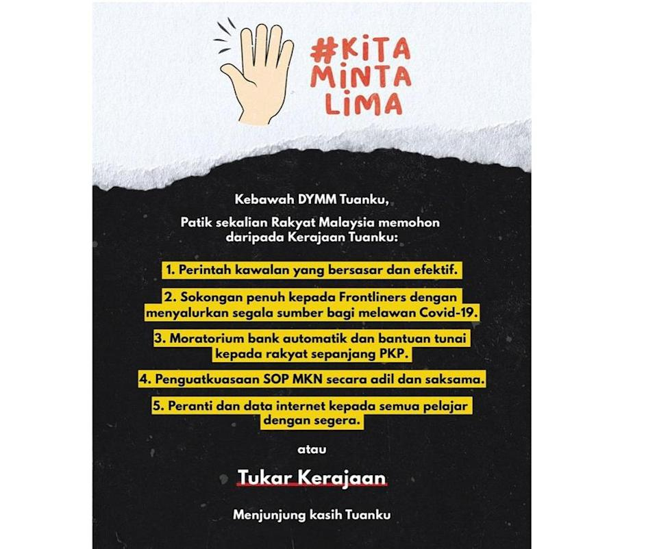 The #KitaMintaLima hashtag currently occupies the second-highest place on Twitter's Trending Topics chart for Malaysia. — Picture via Twitter