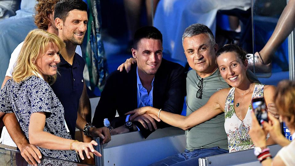 Novak Djokovic, pictured here with mother Dijana, brother Djordje, father Srdjan and wife Jelena.