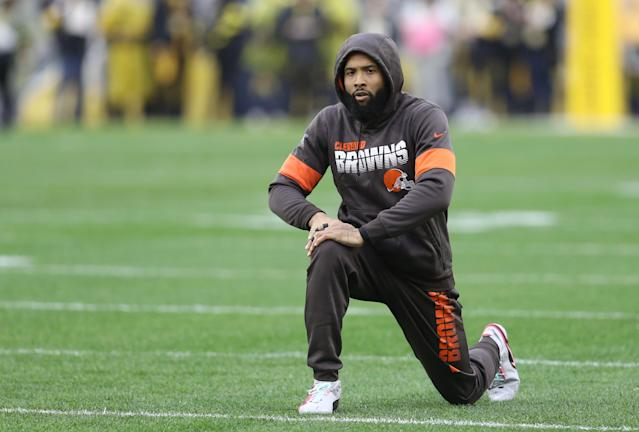 "Odell Beckham Jr. has been dealing with a ""painful"" sports hernia injury that has limited his practice time with Baker Mayfield. (Charles LeClaire-USA TODAY Sports)"