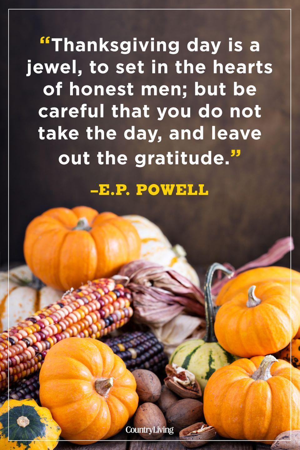 """<p>""""Thanksgiving day is a jewel, to set in the hearts of honest men; but be careful that you do not take the day, and leave out the gratitude.""""</p>"""