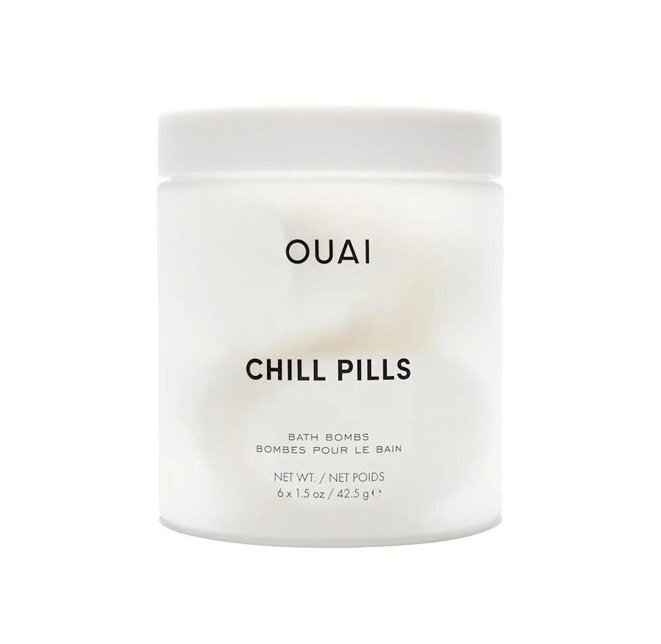 """<h3>Ouai Chill Pills Bath Bombs<br></h3><br>Channel ultra-relaxing energy with these calming bath bombs crafted with hemp, jojoba, and safflower seed oils and gently fragranced with jasmine and rose. <br><br><strong>Ouai</strong> Chill Pills Bath Bombs, $, available at <a href=""""https://go.skimresources.com/?id=30283X879131&url=https%3A%2F%2Fwww.ulta.com%2Fchill-pills-bath-bombs%3FproductId%3Dpimprod2015103%26sku%3D2565490"""" rel=""""nofollow noopener"""" target=""""_blank"""" data-ylk=""""slk:Ulta Beauty"""" class=""""link rapid-noclick-resp"""">Ulta Beauty</a>"""