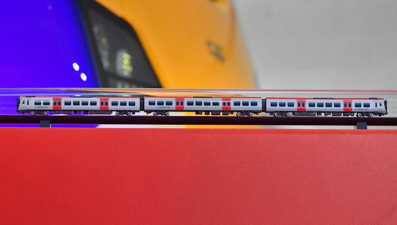 The model train presented to the Prince of Wales during his visit to the CAF train factory in Newport, Wales.