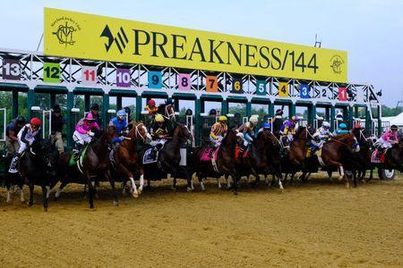 May 18, 2019; Baltimore, MD, USA; Horses leave the gate during the start of the 144th running of the Preakness Stakes at Pimlico Race Course. Mitch Stringer-USA TODAY Sports