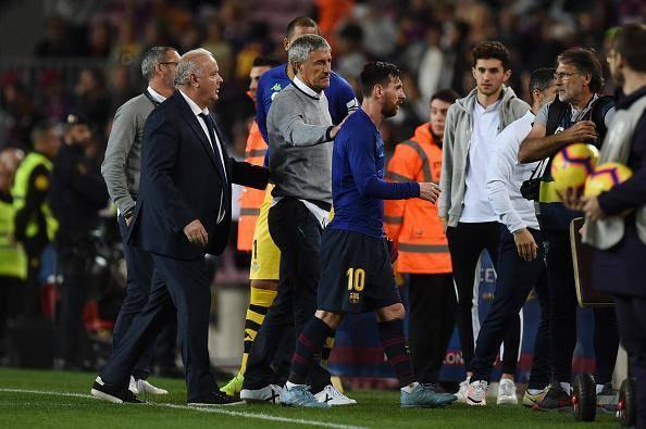 Setien sympathises with Lionel Messi - who he says is one of the purest players ever to live - after the match (Getty)