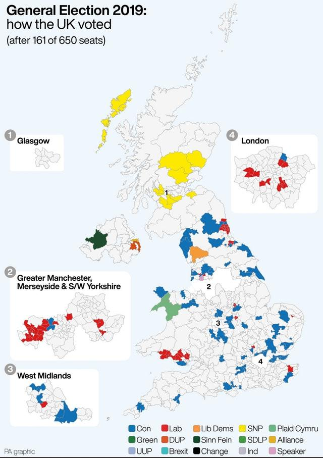 General Election 2019 how the UK voted after 161 0f 650 seats