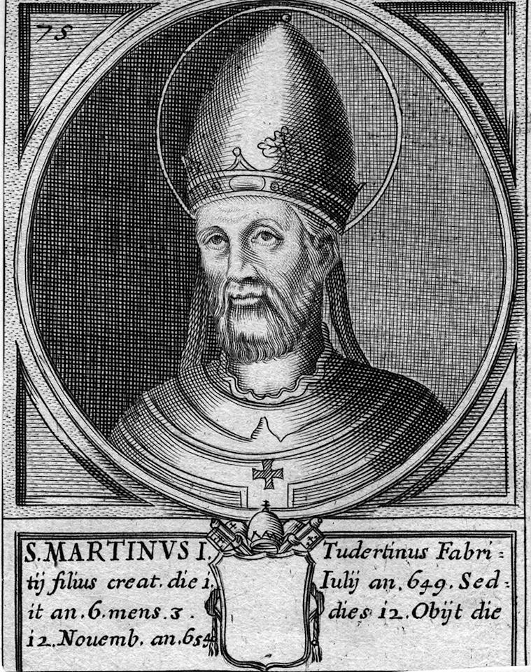 Circa 650 AD, Pope Martin I (d.654). (Photo by Hulton Archive/Getty Images)