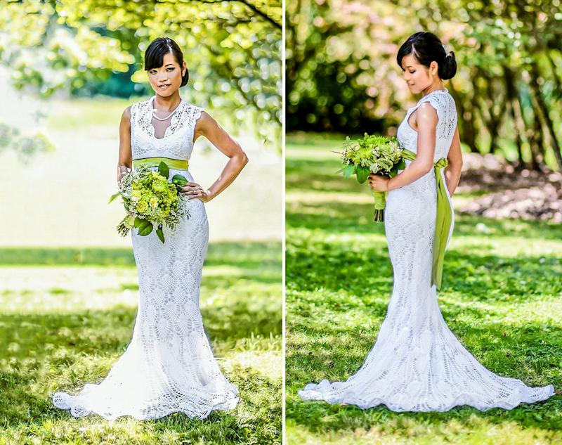"""I crocheted my dress mainly during my daily bus commute to and from work over about five months. The commute was, on average, an hour per day, five days per week. I spent maybe 30 hours designing and sewing the custom satin lining that I wore under the crochet lace dress,"" bride <a href=""https://www.ravelry.com/patterns/library/chrysanthemum-gown"" target=""_blank"">Chi Krneta</a> told HuffPost. ""I didn't originally plan on having a crochet wedding dress, rather it began as a project to fill my commute time. As a young child I learned to crochet from my late grandmother so I thought it would be nice to incorporate this gift into my wedding dress. I also received much-needed help in adding finishing touches to the dress and liner from my husband's great aunt, who treated me like her granddaughter."""