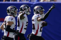 Atlanta Falcons cornerback Isaiah Oliver (26) reacts after recovering a fumble by New York Giants tight end Evan Engram during the first half of an NFL football game, Sunday, Sept. 26, 2021, in East Rutherford, N.J. (AP Photo/Seth Wenig)