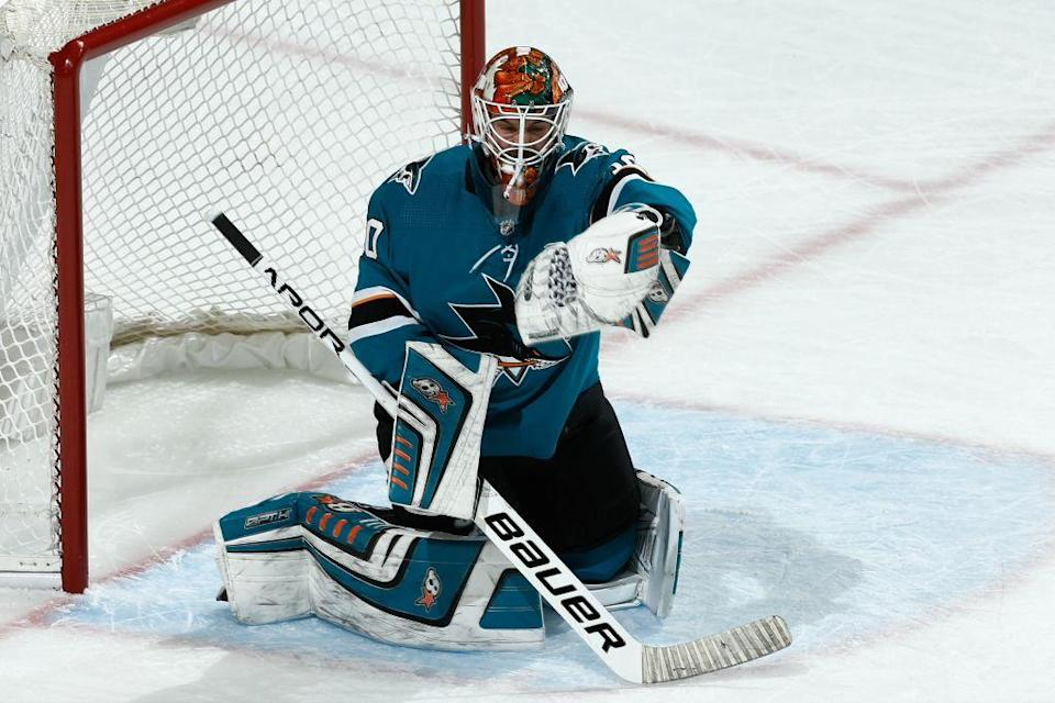 Aaron Dell has been given the Sharks very strong production. (Don Smith/NHLI via Getty Images)