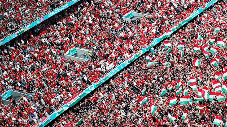 Hungary fans, pictured here packed into Puskas Arena for Hungary's clash with France.