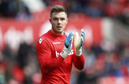 Stoke City's Jack Butland during the warm up session before the match