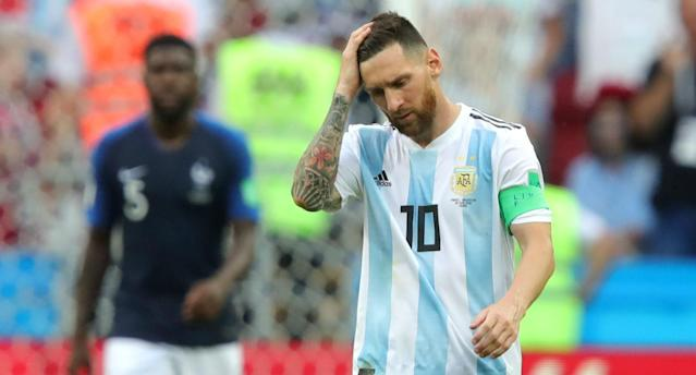 Lionel Messi reacts during Argentina's 4-3 loss to France. (Getty)