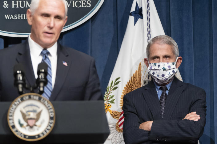 National Institute of Allergy and Infectious Diseases Director Anthony Fauci, right, and Vice President Mike Pence. (Joshua Roberts/Getty Images)