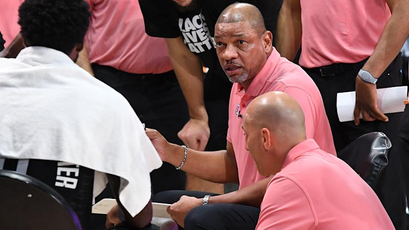LA Clippers coach Doc Rivers is pictured during a time-out.