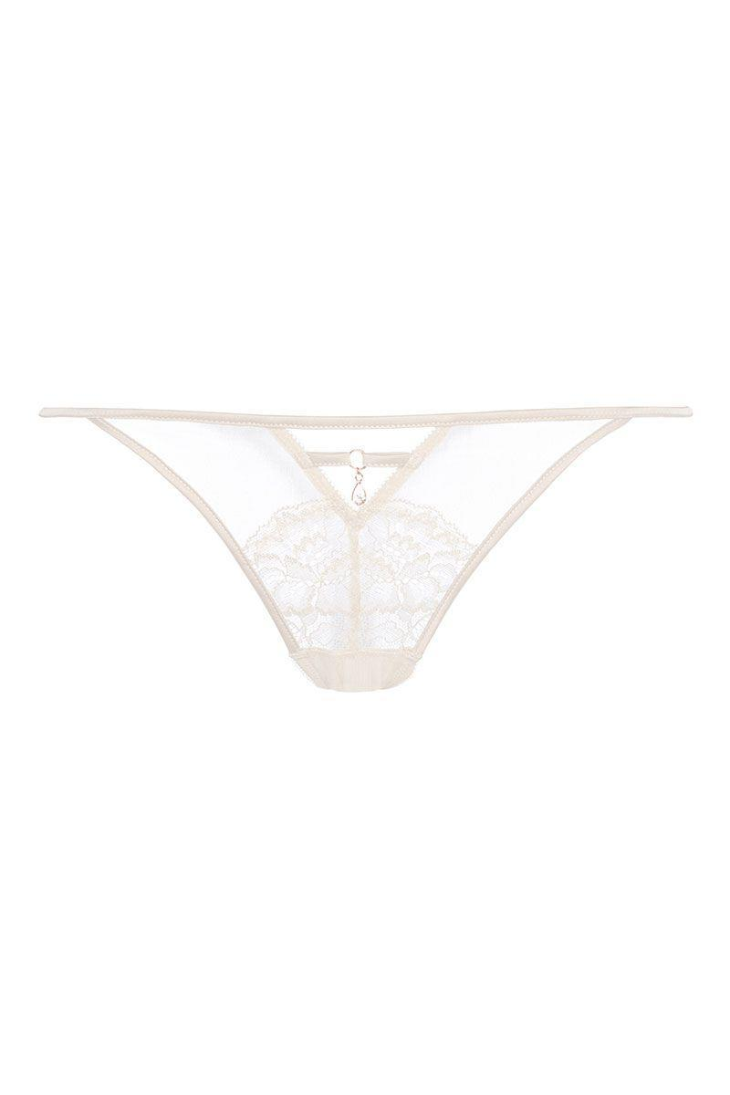 <p>Champagne lace thong, £4</p>