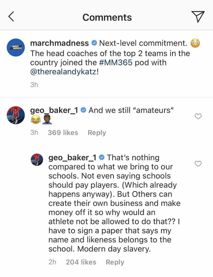 Geo Baker expressed frustration with how the NCAA treats athletes. (Screengrab via @marchmadness on Instagram)