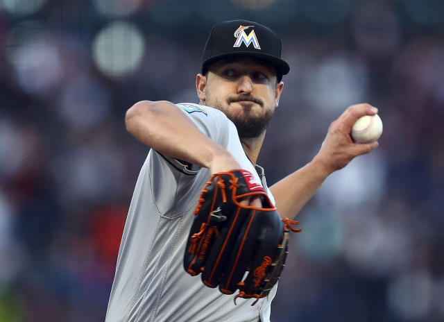 Miami Marlins pitcher Caleb Smith works against the San Francisco Giants in the first inning of a baseball game Monday, June 18, 2018, in San Francisco. (AP Photo/Ben Margot)