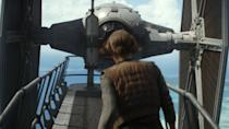 <p>This striking shot of a TIE Fighter looming in front of Felicity Jones' Jyn Erso seems to be part of a large final act action sequence that was completely excised. It involves the data tapes that hold the plans for the Death Star. Credit: Lucasfilm/Disney </p>