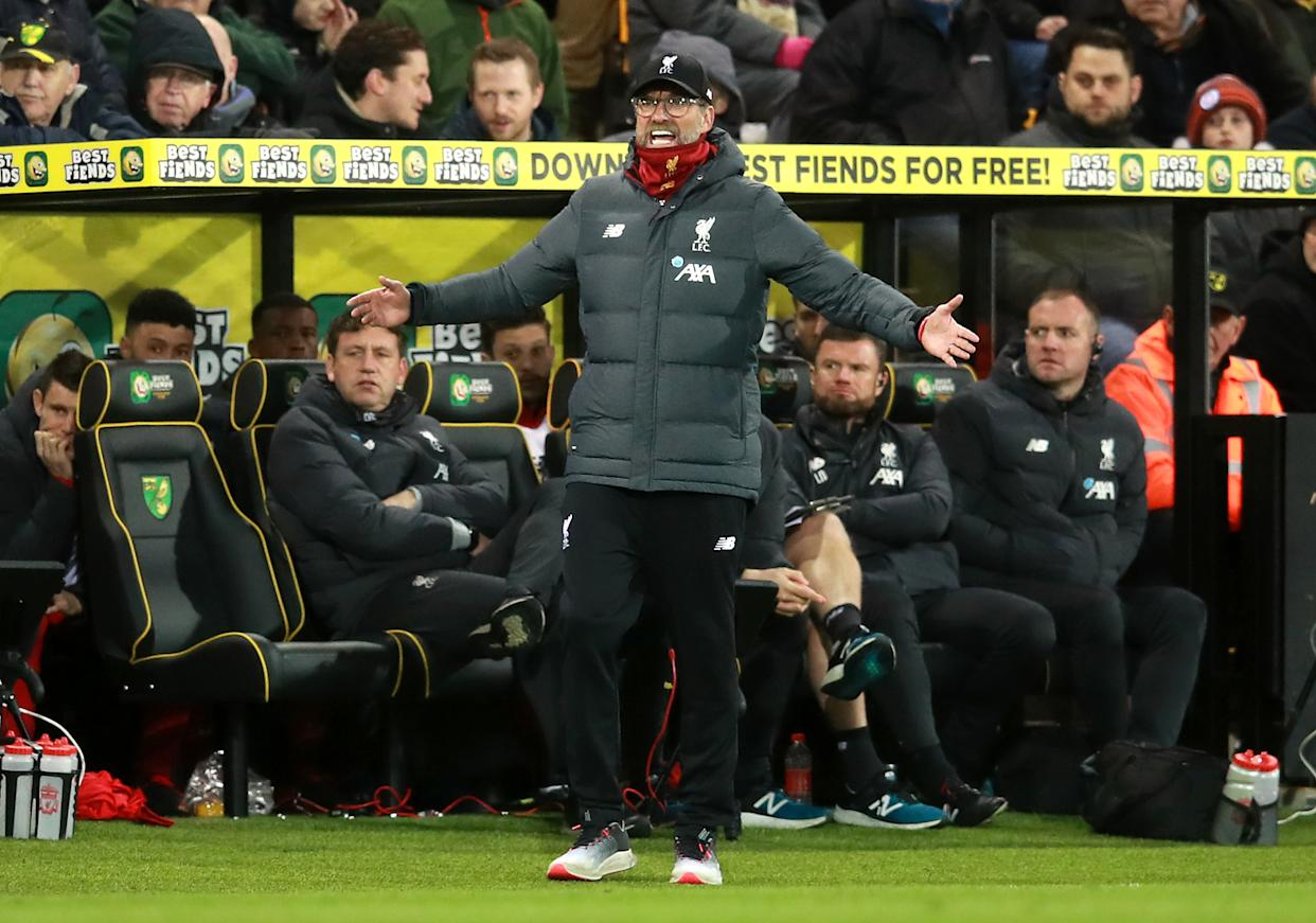 Liverpool manager Jurgen Klopp gestures towards his players during the Premier League match at Carrow Road, Norwich. (Photo by Adam Davy/PA Images via Getty Images)