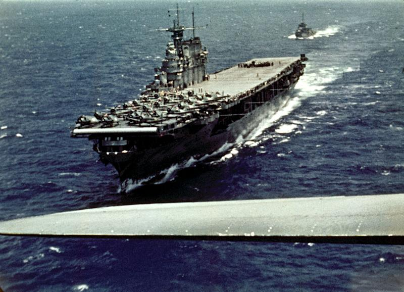 Film still shows a U.S. Navy, Yorktown-class aircraft carrier USS Enterprise during the Battle of Midway, from the John Ford-directed documentary The Battle of Midway. | U.S. Navy/The LIFE Picture Collection— Getty Images