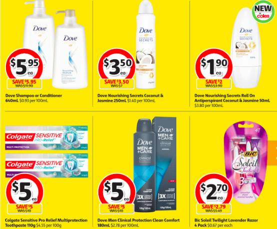Toiletries selling for half-price at Coles.