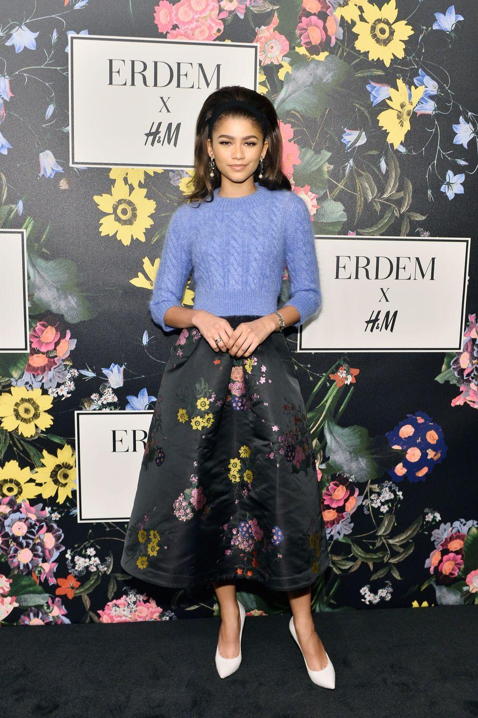 <p>Zendaya wore Erdem x H&M to attend the launch of the designer's collaboration.</p>
