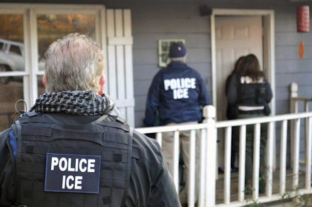 ICE agents (shown here in photo in Atlanta) are not allowed to enter school grounds in New York City without a valid warrant. (Photo: AP)