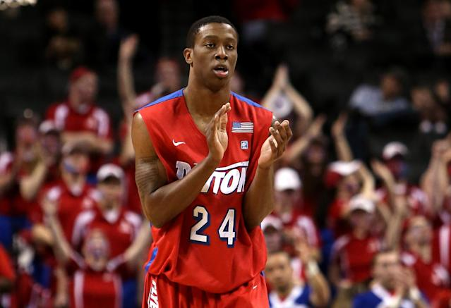 NEW YORK, NY - MARCH 14: Jordan Sibert #24 of the Dayton Flyers reacts after a play in the first half against the Saint Joseph's Hawks during the Quarterfinals of the 2014 Atlantic 10 Men's Basketball Tournament at Barclays Center on March 14, 2014 in the Brooklyn Borough of New York City. (Photo by Mike Lawrie/Getty Images)