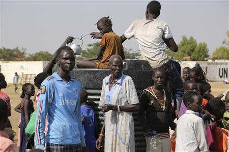 Civilians crowd inside the United Nations compound on the outskirts of the capital Juba in South Sudan