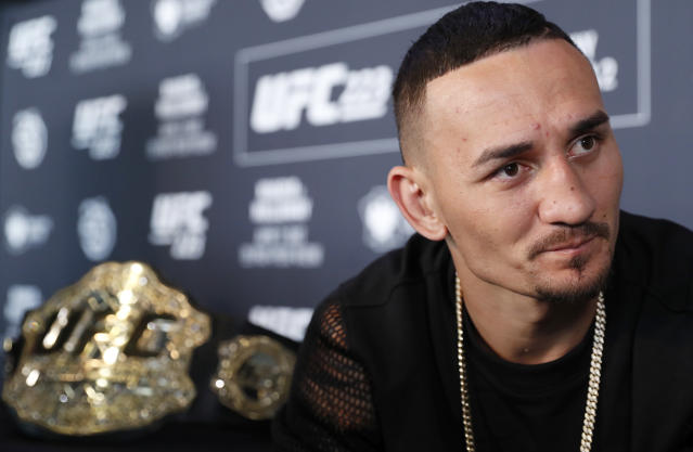 UFC featherweight champion Max Holloway defends his title on Saturday at T-Mobile Arena in Las Vegas at UFC 226. (AP)