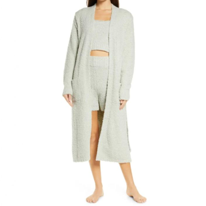 "Keep the comfy vibes going with this sherpa knit from Skims. Take cues from the styling and wear it with a crop top and <a href=""https://www.glamour.com/story/best-bike-shorts?mbid=synd_yahoo_rss"" rel=""nofollow noopener"" target=""_blank"" data-ylk=""slk:bike shorts"" class=""link rapid-noclick-resp"">bike shorts</a> for a full <em>lewk.</em> $128, Nordstrom. <a href=""https://www.nordstrom.com/s/skims-cozy-knit-boucle-robe/5713993"" rel=""nofollow noopener"" target=""_blank"" data-ylk=""slk:Get it now!"" class=""link rapid-noclick-resp"">Get it now!</a>"