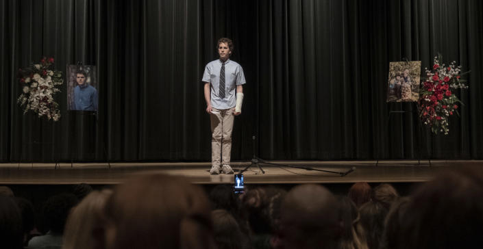 """This mage released by Universal Pictures shows Ben Platt in a scene from """"Dear Evan Hansen."""" (Erika Doss/Universal Pictures via AP)"""