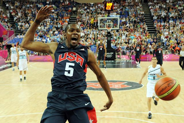 US forward Kevin Durant jumps for the ball during the London 2012 Olympic Games men's semifinal basketball game between Argentina and the USA at the North Greenwich Arena in London on August 10, 2012. AFP PHOTO/ POOL/MARK RALSTONMARK RALSTON/AFP/GettyImages
