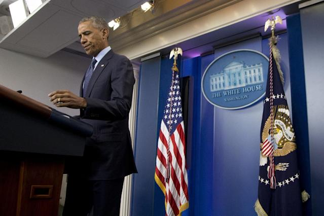 <p>President Barack Obama speaks about the massacre at an Orlando nightclub during a news conference at the White House in Washington, Sunday, June 12, 2016. (AP Photo/Manuel Balce Ceneta) </p>