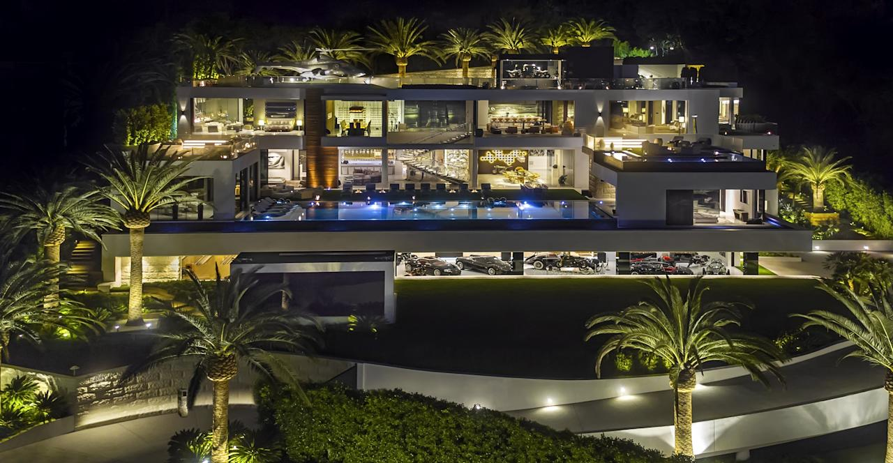 <p>This mega-mansion in Los Angeles was the priciest home to go on sale in the US at $250m. It was the brainchild of Bruce Makowsky, of BAM Luxury, who spent four years and employed 250 people to work on it. It has a home cinema, bowling alley and sauna. (SWNS) </p>