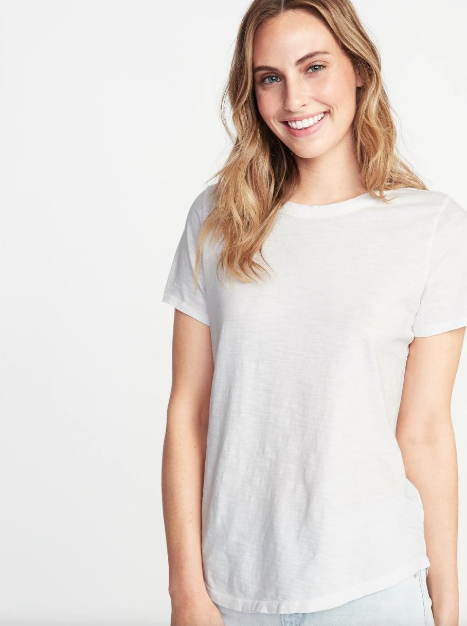 """<p>This <a href=""""https://www.popsugar.com/buy/Old-Navy-EveryWear-Slub-Knit-Tee-548770?p_name=Old%20Navy%20EveryWear%20Slub-Knit%20Tee&retailer=oldnavy.gap.com&pid=548770&price=6&evar1=fab%3Aus&evar9=47433715&evar98=https%3A%2F%2Fwww.popsugar.com%2Ffashion%2Fphoto-gallery%2F47433715%2Fimage%2F47433725%2FOld-Navy-EveryWear-Slub-Knit-Tee&list1=shopping%2Ct-shirts%2Ctops%2Cfashion%20shopping&prop13=mobile&pdata=1"""" class=""""link rapid-noclick-resp"""" rel=""""nofollow noopener"""" target=""""_blank"""" data-ylk=""""slk:Old Navy EveryWear Slub-Knit Tee"""">Old Navy EveryWear Slub-Knit Tee</a> ($6, originally $13) comes in a wine-red hue as well if you're looking for more color.</p>"""