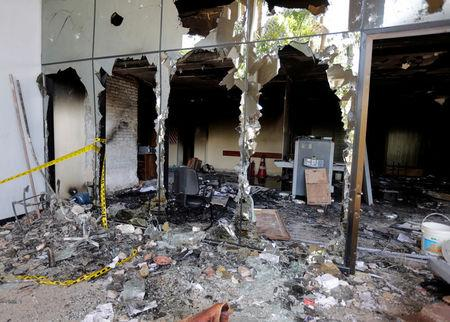 View of the interior of the building of the Congress, which was damaged after a demonstration against a proposed amendment that would allow Paraguay's president to stand for re-election, in Asuncion