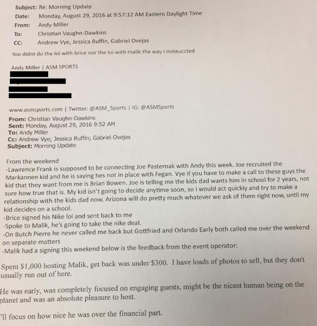 Email exchange between Christian Dawkins and his ASM coworkers, including prominent agent Andy Miller. (Credit: Yahoo Sports)