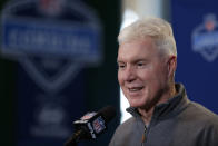 FILE - In this Feb. 25, 2016, file photo, Green Bay Packers general manager Ted Thompson speaks during a press conference at the NFL football scouting combine in Indianapolis. Thompson, whose 13-year run as Green Bay Packers general manager included their 2010 Super Bowl championship season, died Wednesday, Jan 20, the team announced Thursday, Jan. 21, 2021. He was 68. Thompson was Packers general manager from 2005-17 and drafted many notable players on the current roster, including two-time MVP quarterback Aaron Rodgers. (AP Photo/Michael Conroy, File)