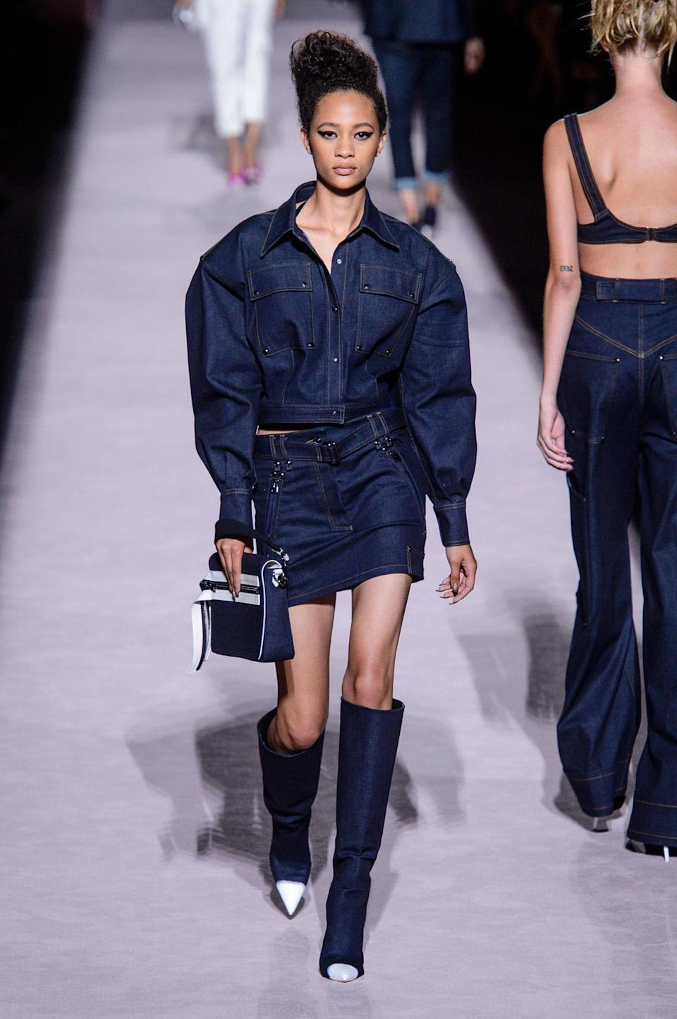 <p>Dark denim boxy jacket and mini skirt from the SS18 Tom Ford collection. (Photo: ImaxTree) </p>