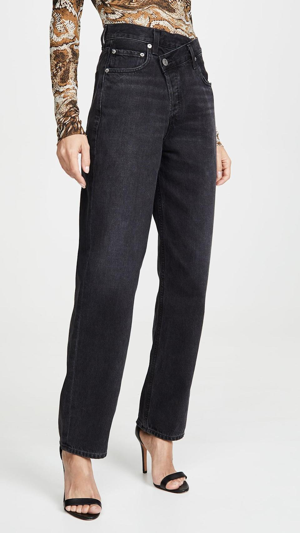 <p>I love the relaxed yet still put-together silhouette of these <span>Agolde Crisscross Upsized Jeans</span> ($218). Pair them with heels and a turtleneck.</p>