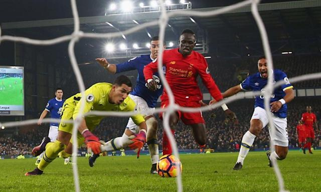 "<span class=""element-image__caption"">Sadio Mané scores Liverpool's late derby winner in December but Everton have since closed the gap on their neighbours from 16 points to six.</span> <span class=""element-image__credit"">Photograph: Clive Brunskill/Getty Images</span>"